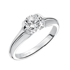 Half bezel diamond solitaire engagement ring with polished shank. Style: April #ArtCarvedBridal