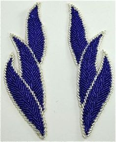 "Leaf Pair with Blue Beads 7"" x 2"""