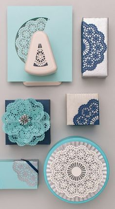 Doily paper punch from Martha Stewart crafts Paper Doily Crafts, Paper Folding Crafts, Doilies Crafts, Paper Doilies, Scrapbook Paper Crafts, Flower Crafts, Martha Stewart Punches, Martha Stewart Crafts, Paper Punch Art