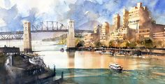 """The Water Taxi- Vancouver by Iain Stewart Watercolor ~ 11"""" x 21"""""""