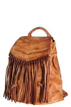 Genuine leather fringe backpack zipper brown distressed drawstring shoulder tote bag handbag bag long strap top handle large boho purse by Scarlettaa on Etsy