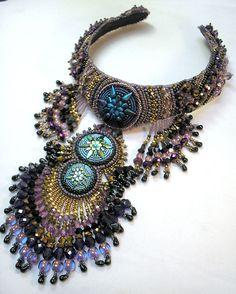 Bead Embroidery Purple Bronze and Black Beaded от HannahRachel