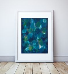 Abstract Canvas Art Painting Blue Aqua Green by ElizabethEllenor