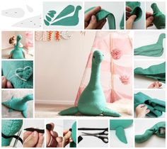 How adorable is this giant Loch Ness monster? Created by Hannah from We Lived Happily Ever After, it measures 1 1/2 feet tall and 3 feet wide, perfect for a nursery or for fun in any room of the house.Materials: 1 1/2 yards of felt for the body (you can make it with just 1 yard, but it never hurts to get a little more than you need), a small sheet of pink felt for the patches (the small sheets they sell for about 30 cents), a small sheet of black felt for the eyes and the mouth, stuffing (a…