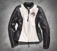 Design with a reason, fashion with sense. The Pink Label Mandarin Collar Leather Jacket features the ultimate in riding function. | Harley-Davidson Women's #PinkLabel Mandarin Collar Leather Jacket