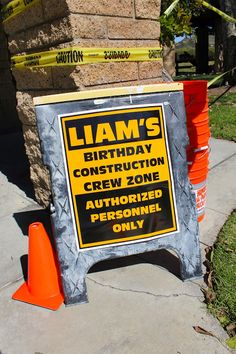 Liam's First Birthday - Construction Party Construction Signs, Construction Birthday Parties, 3rd Birthday Parties, Boy Birthday, Birthday Ideas, Digger Birthday, Tractor Birthday, Construction Business, Birthday Banners
