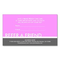 Spa aqua glass refer a friend coupon salon referral card pinterest light pink gray simple refer a friend cards colourmoves