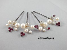 A set of 4 asymmetrical clustered Swarovski pearls mix with crystals and rhinestone hair clips hand wired using non tarnish wire. These set of hair clips will add just the right amount of elegance to your hair do. Each hair clip measures approximately 2.5 inches in length. Please refer