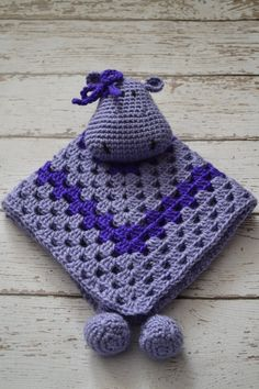 Hippo Lovey Blanket, Baby Security Blanket, Toddler Security Blanket, Granny Square Blanket. $30.00, via Etsy.