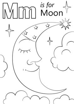 Letter M is for Moon coloring page from Letter M category. Select from 24194 printable crafts of cartoons, nature, animals, Bible and many more. Moon Coloring Pages, Preschool Coloring Pages, Alphabet Coloring Pages, Free Printable Coloring Pages, Coloring Pages For Kids, Coloring Books, Free Coloring, Preschool Letter M, Letter M Crafts