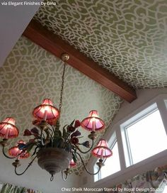 On the Up and Up: 10 Ideas on How to Decorate Your Home with Ceiling Stencils - DIY Painted Ceiling Makeover Ideas - Royal Design Studio