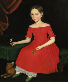 Ammi Phillips, Portrait of a Winsome Young Girl in Red with Green Slippers, Dog and Bird