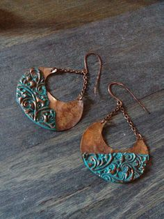 Turquoise earrings, Copper earrings, rustic earrings, metal earrings, moon earrings, Handmade earrings, dangle earrings, bohemian earrings