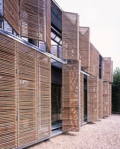 Interesting alternative to the timber shutters and timber exterior I am considering. Bamboo exterior of Passive House by Karawitz Architecture Bamboo Architecture, Facade Architecture, Architecture Supplies, Installation Architecture, Amazing Architecture, Bamboo Building, Passive Design, Bamboo Construction, Bamboo House