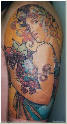 "Josh Lord :: Alphonse Mucha's ""Fruit"" as a Sleeve Tattoo"