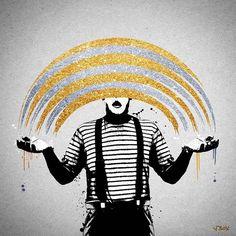 'MIME'  Gold & Silver Diamond Version New 1/1 Original by @jboyprints February 2016 jboyprints.com  #jboy #banksy #urbanart #mime #clown #colour #rainbow #streetart #stencil #print #popart #art #artwork #graffiti #stencil #original #prints #london #colour #color #graffitiart #dolk #banksyart #family #screenprint #mimeartist #urbanart #canvas #original #screenprint #sprayart #gold #silver #diamond