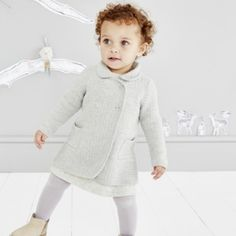 Double Breasted Knitted Coat - Pale Grey from The White Company Little White Company, Knitted Coat, Clothing Company, Winter Collection, Stylish Outfits, Double Breasted, Baby Kids, Kids Fashion, Girl Outfits