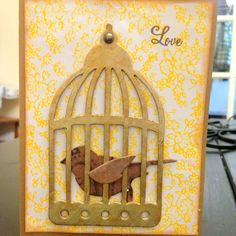 "Housewarming card...""home TWEET home"" on inside. Used Tim Holtz Sizzix Bigz Die Bird Cage."