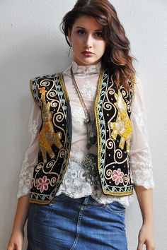 Marrakesh INDIA Elephant Velvet Sequin Vest  on Etsy,SOLD