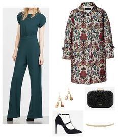 Green jumpsuit+black ankle strap pumps+printed light coat+black clutch with glitter+golden belt+gold earrings. Spring Morning Wedding Outfit 2016