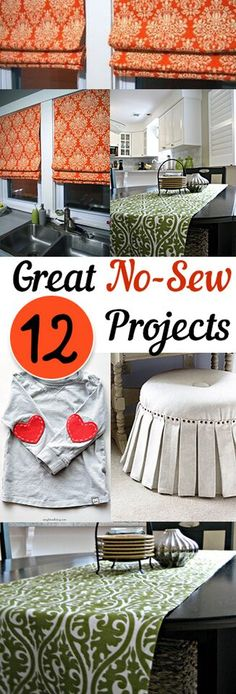 12 Great No Sew Projects. DIY, DIY clothing, sewing patterns, quick crafting, tutorials, DIY tutorials.