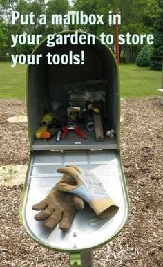 Put a mailbox in your garden to store your tools, next to the raised bed... find or make one that looks like a bird house?                                                                                                                                                                                 More