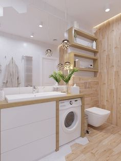 33 clean small laundry room decorating ideas you must have 5 Modern Small Bathrooms, Bathroom Design Small, Beautiful Bathrooms, Bathroom Interior Design, Modern Bathroom, Small Laundry, Laundry In Bathroom, Laundry Room Design, Bathroom Inspiration