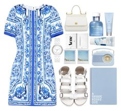 """A Greek night out"" by floralandmay ❤ liked on Polyvore featuring Dolce&Gabbana, DKNY, Polaroid, Korres and Drybar"