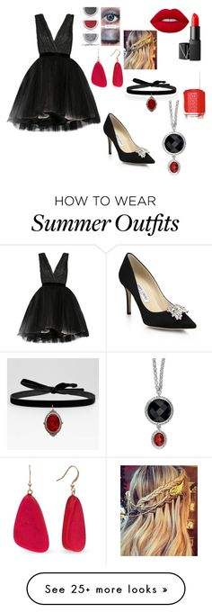 """""""The Female Devil"""" by books-are-awesome-101 on Polyvore featuring Alice + Olivia, Jimmy Choo, Lime Crime, NARS Cosmetics, Kim Rogers and Essie"""