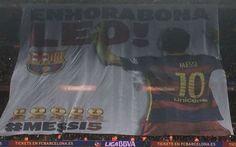 La lona en homenaje a Leo Messi