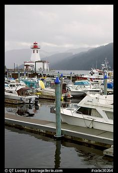 Harbour and lighthouse, Port Alberni. Vancouver Island, British Columbia, Canada (black and white) All I Ever Wanted, Largest Countries, Black And White Pictures, Vancouver Island, British Columbia, West Coast, Picture Photo, North America, Cool Photos