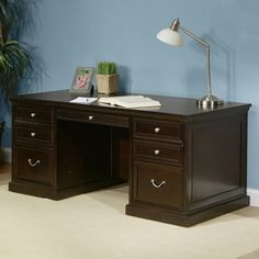 awesome kathy ireland Home by Martin FL720 Fulton Double Pedestal Executive Desk - 72 in.