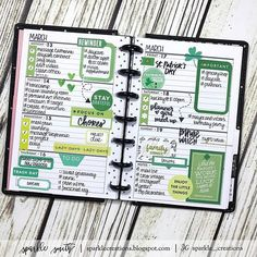 St. Patrick's Day green planner page inspiration.