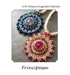 Beaded Pendant Tutorial, Lacy Medallion Rivoli and Seed Bead Pattern,  Step by Step with Detailed Diagrams, Principessa via Etsy