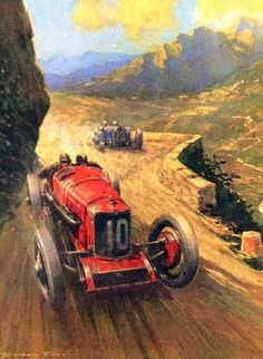1927 Targa Florio by Frederick Gordon Crosby (1885 - 1943). Crosby was an English automotive illustrator whose illustrations and paintings reflect the excitement and glamour that surrounded the birth and early development of the automotive industry.