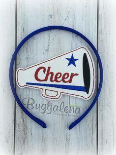 Cheer Megaphone BuggaBand Headband Slider Embroidery Design by Buggalena