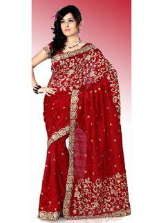 Magnifique Sari Rouge en Soie brodé et travaillé au Resham.