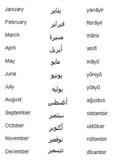 Arabic Words for Months of the Year - Learn Arabic