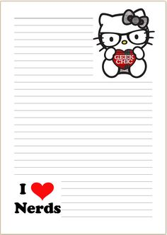 HELLO KITTY Geek chic - Letter writing paper - A4 - Stationary, penpal, nerd ST1 Free Printable Stationery, Printable Planner Stickers, Free Printables, Little Twin Stars, Lined Writing Paper, Writing Papers, Letter Set, Letter Writing, Flamingo Party
