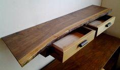 Custom Walnut Live Edge Shelf Floating 2 Drawer Entry Accent Table Mid Century Japanese Nakashima Style