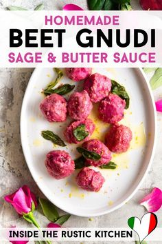 Beet Gnudi in a Sage and Butter Sauce. These Italian dumplings look so impressive with their bright pink colour but don't be fooled they're super easy to whip up and are perfect for date night or a special occasion. Vegetarian Pizza Recipe, Vegetarian Stew, Sage Butter Sauce, Gnocchi Recipes, Beetroot, Rustic Kitchen, Dumplings, Beets, Bright Pink