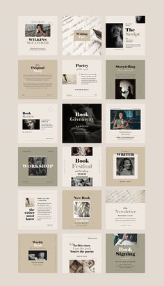 Writers Social Media Pack by Vynetta on @creativemarket Instagram Feed Ideas Posts, Instagram Feed Layout, Instagram Grid, Instagram Post Template, Instagram Design, Insta Posts, Social Media Template, Social Media Design, Social Media Graphics
