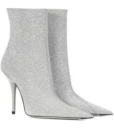 Balenciaga Knife Glittered Leather Ankle Boots In Silver Silver Boots, Glitter Boots, Lace Ankle Boots, Platform Ankle Boots, Stilettos, Stiletto Heels, Glitter Mode, Balenciaga Boots, Glitter Fashion