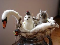 Custom Needle Felted Owl and Pussycat in Swan Boat by Tamara111, via Flickr