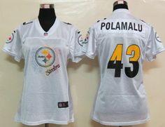 Nike NFL Womens Pittsburgh Steelers 43 Popamalu White fem fan Jerseys
