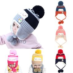Tortor 1Bacha Infant Baby Girls Bunny Rabbit Ear Knit Cuffed Beanie Hat