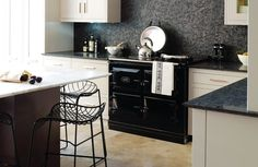 Dreeeeam oven!!!  The 3-oven AGA range cooker in black. Sited in a contemporary kitchen setting.