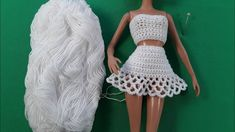 Урок вязания косой сетки (по просьбе). Часть 1. Мастер-класс. Moda Crochet, Crochet Doll Pattern, Crochet Dolls, Crochet Barbie Clothes, Doll Clothes, Barbie Dress, Barbie Outfits, Crochet Videos, Two Piece Skirt Set