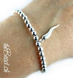 silver beads bracelet with CORNO / Silberperlen Armband CORNO aus 925 Sterling