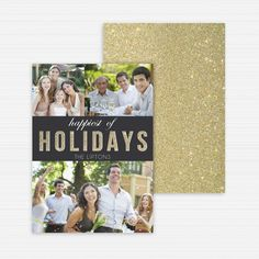 Holiday Card, Happy Holidays Glitter, Personalized Christmas Card, Photo Card, Custom Holiday Card Printing, Digital File